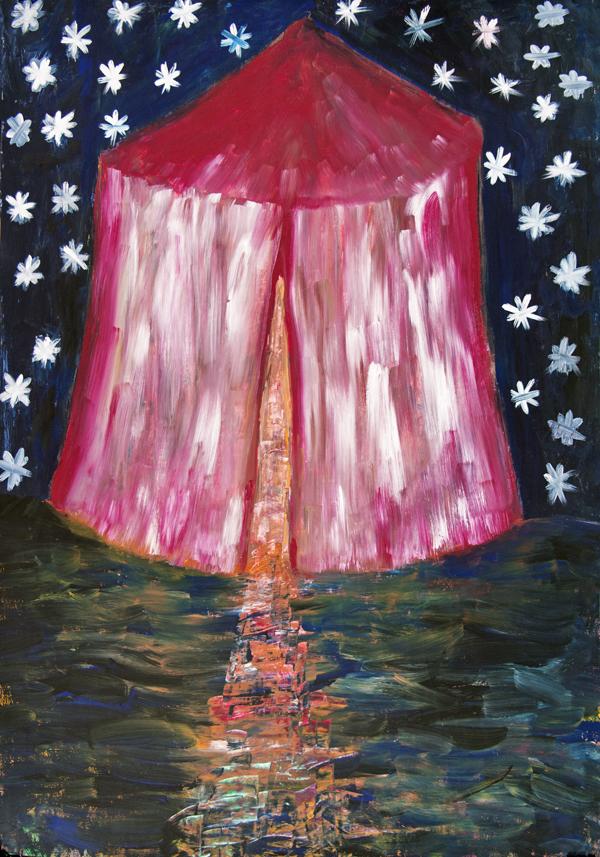 Ausdrucksmalbild: Beduinenzelt in blauschwarzer Nacht. Sternenhimmel. Warmes Licht dringt durch einen Spalt von innen nach außen in die dunkle Nacht.